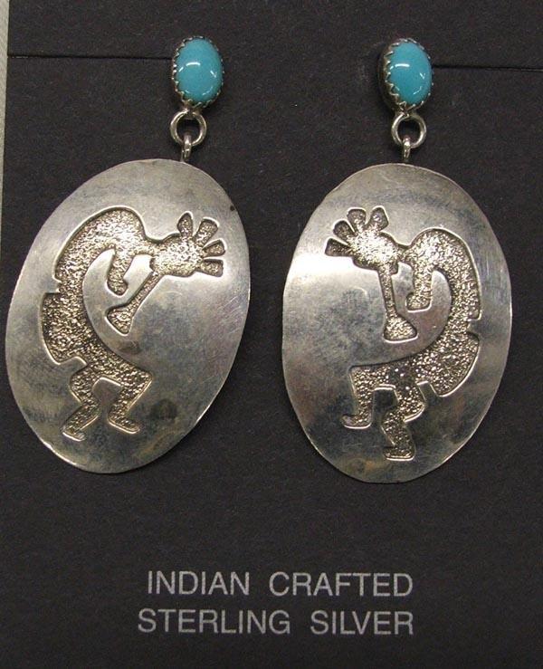 Navajo Silver Turquoise Kokopelli Pierced Earrings