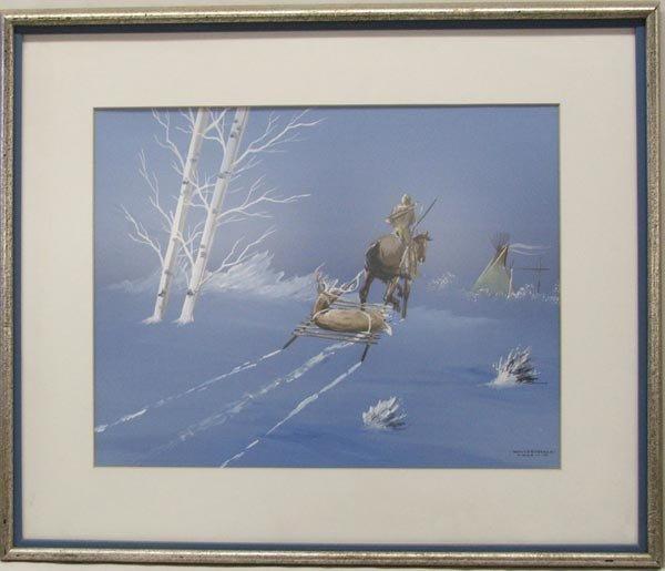 1977 Original Kiowa Painting by White Buffalo