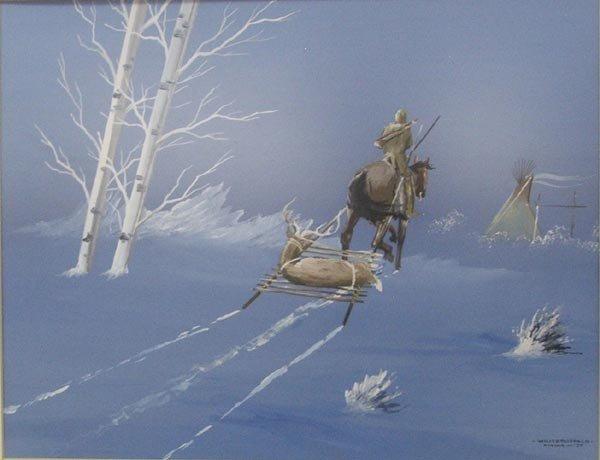 1977 Original Kiowa Painting by White Buffalo - 2
