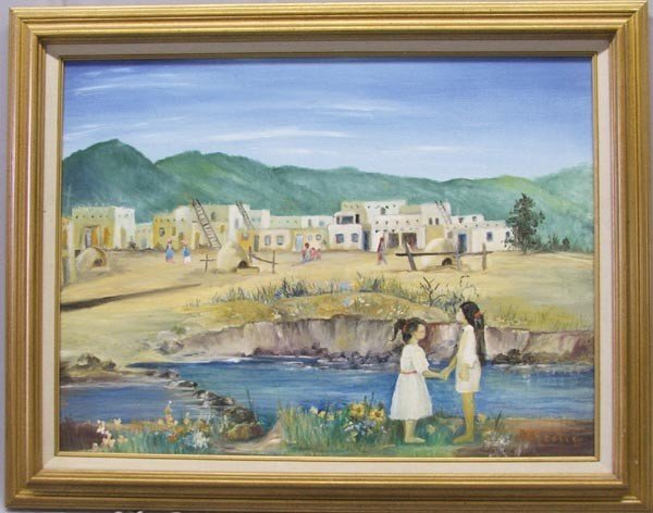 1995 Framed Painting By New Mexico Artist Anna Scott