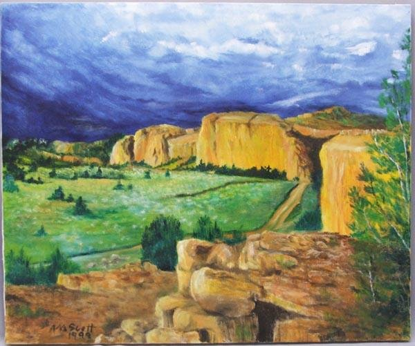 1999 Oil Landscape Painting By New Mexico Artist Scott