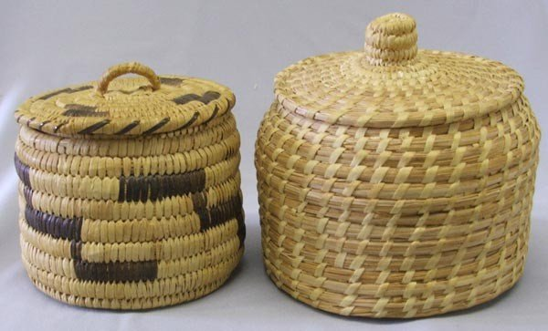 2 Papago Lidded Baskets