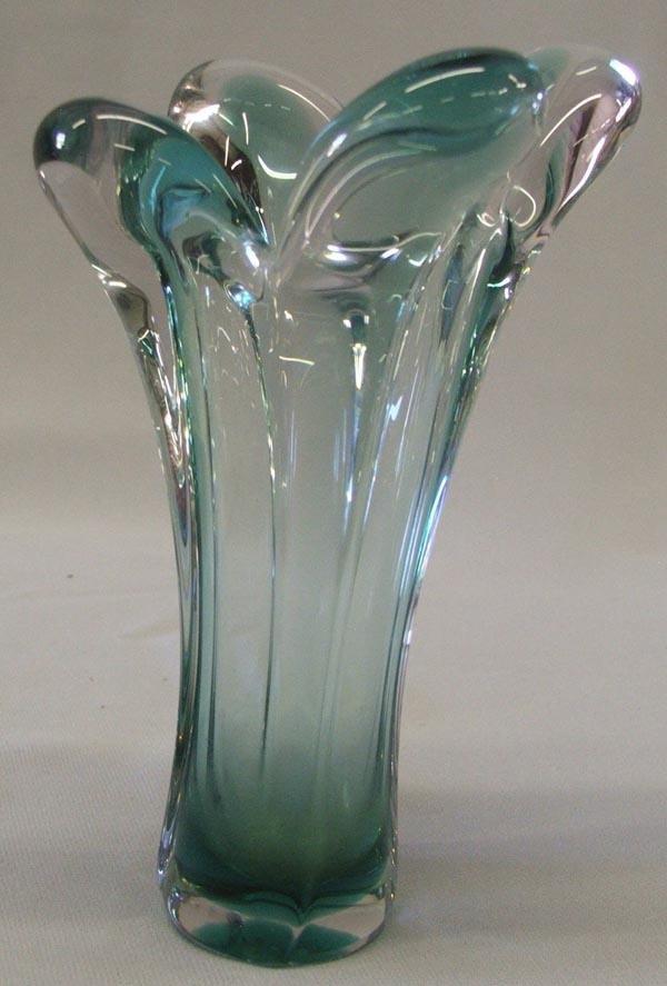 French Bayrl Green Art Glass Vase