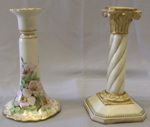 Pr Worcester English  Fine Porcelain Candlesticks