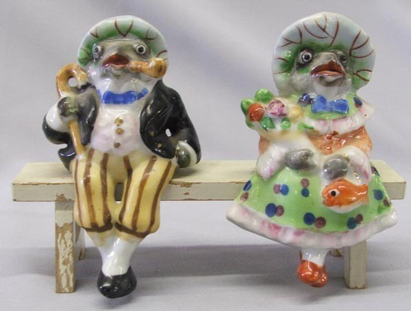2 Occupied Japan Porcelain Frogs On A Bench