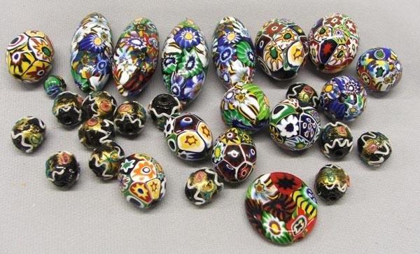 25+ Milifiori Glass Trade Beads Various Sizes