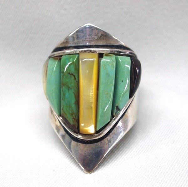 Navajo Silver Turquoise Ring Size 12