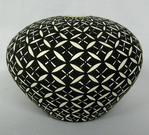Acoma Black & White Seed Jar by C W Kee