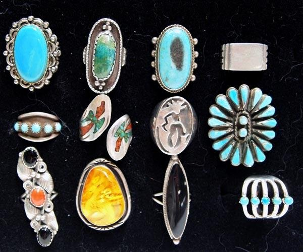 12 Silver Turquoise Amber Coral Southwest Rings