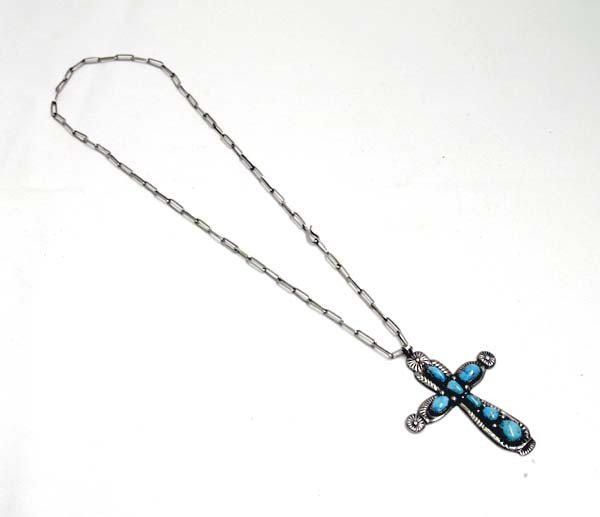 Navajo Silver Turquoise Cross Necklace