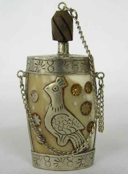 Vintage Asian Silver Carved Bone Perfume Bottle