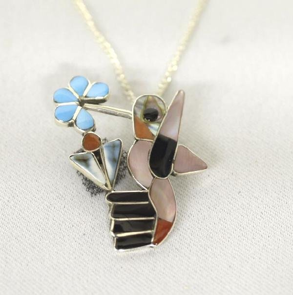 Zuni Silver Inlay Humming Bird Necklace By AW