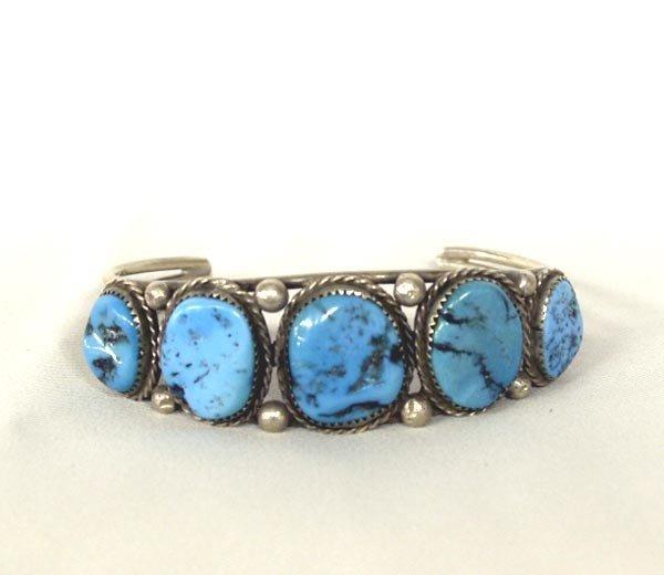 Navajo Silver Turquoise Nugget Bracelet