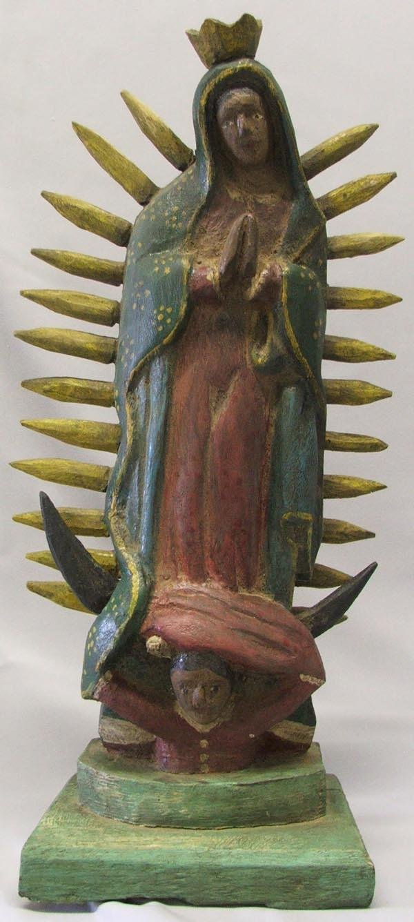 Mexican Guadalupe Wooden Carved Santo