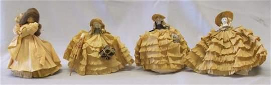 3 Antique Paper And Bisque Dolls Plus