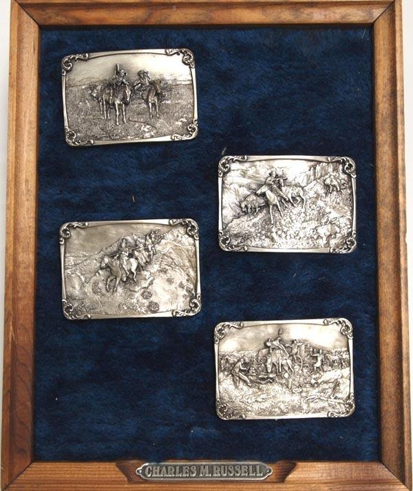 4 Charles Russell Pewter Buckles in Framed Display