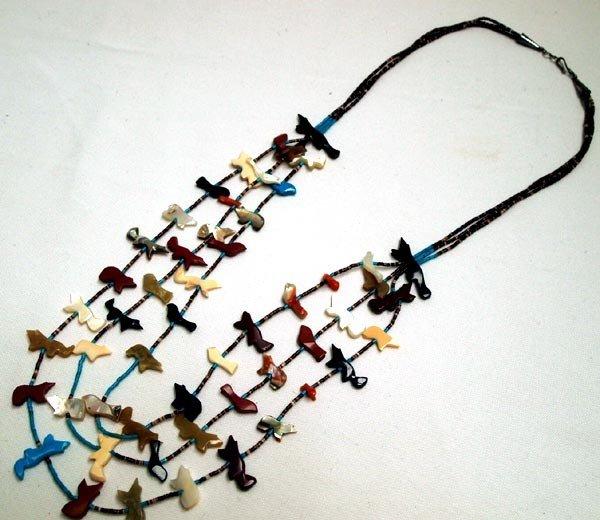 Navajo 3 Strand Fetish Heishi Necklace