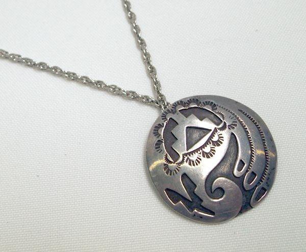 Hopi  Silver Overlay Pin/Pendant Necklace
