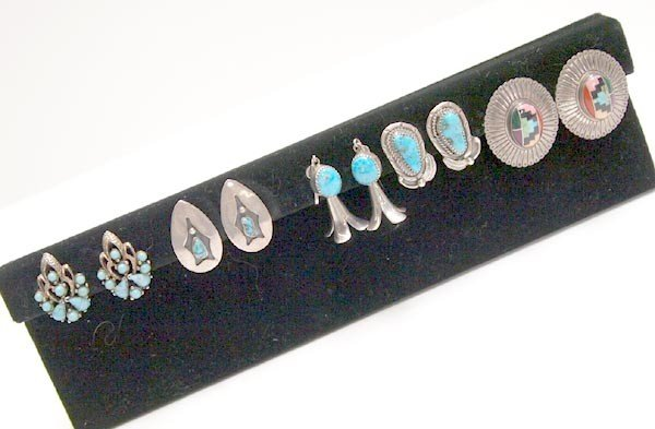 5 Pair Turquoise Silver Earrings Some Navajo