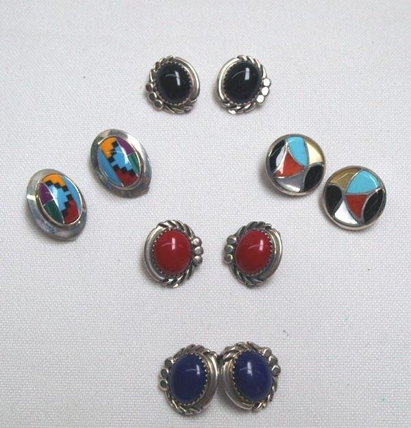 5 Pairs Silver Southwestern Clip-on Earrings