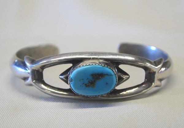 Navajo Silver Turquoise Sandcast Bracelet