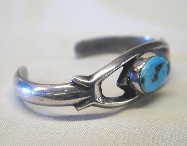 Navajo Silver Turquoise Sandcast Bracelet - 2