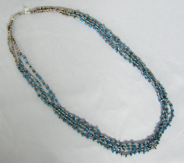 Navajo 4 Strand Fine Heishi Turquoise Necklace