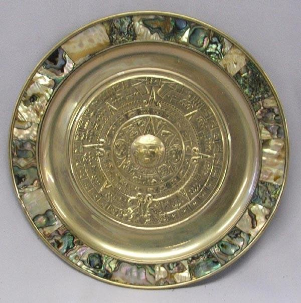 Mexican Alpaca Silver Inlay Abalone Plate