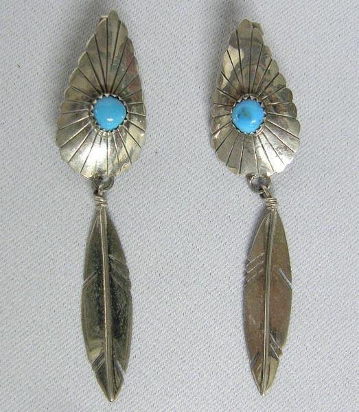Navajo Silver Turquoise Pierced Earrings