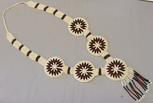 Apache Beaded Necklace On White Leather