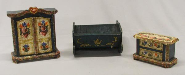 3 Pieces Vintage Doll Furniture