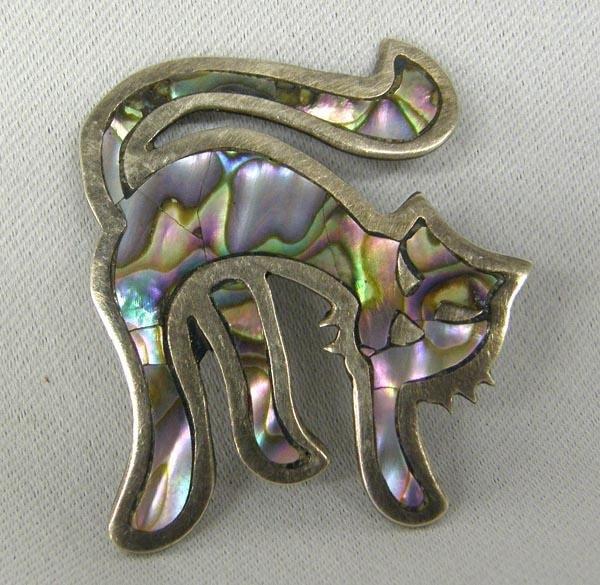 Mexican Silver Tlaquepaque Abalone Pin Hallmark
