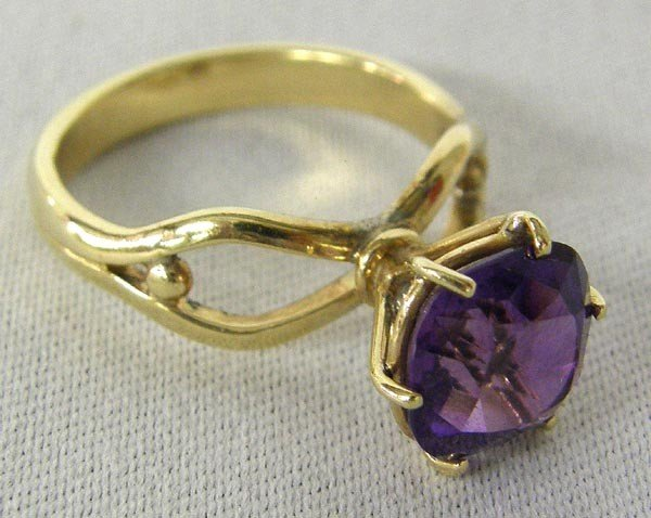 14K Gold Faceted Amethyst Ring