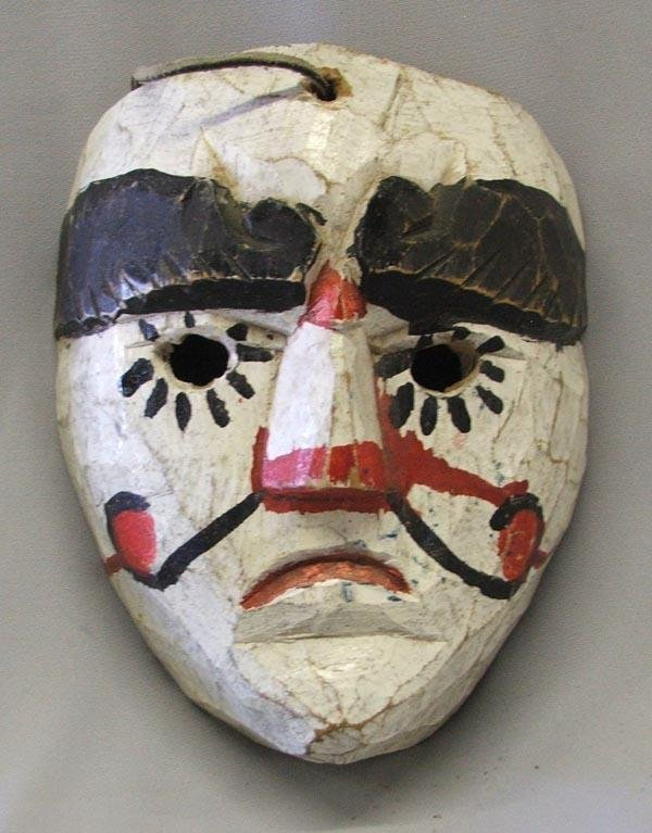 Vintage Mexican Wood Hand Carved Mask