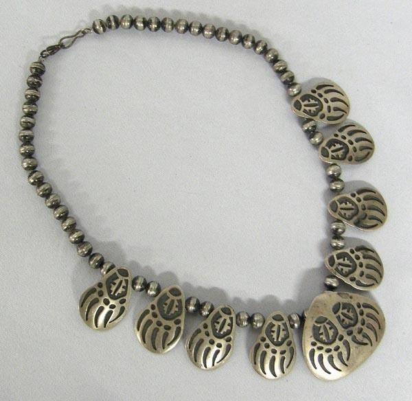 Hopi Silver Overlay Bear Claw Necklace w/Hallmark
