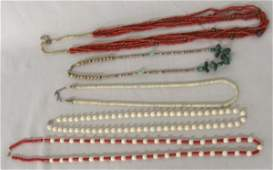 5 Navajo Beaded Necklaces some coral