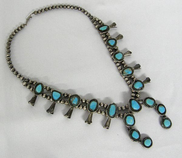 1970's Navajo Turquoise Squash Blossom Necklace