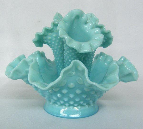 Antique Fenton Blue Glass Epergne