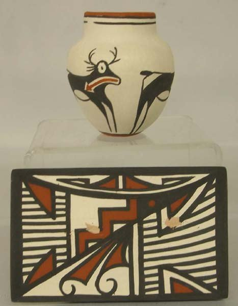 Zuni Miniature Pottery  and Tile signed by artists