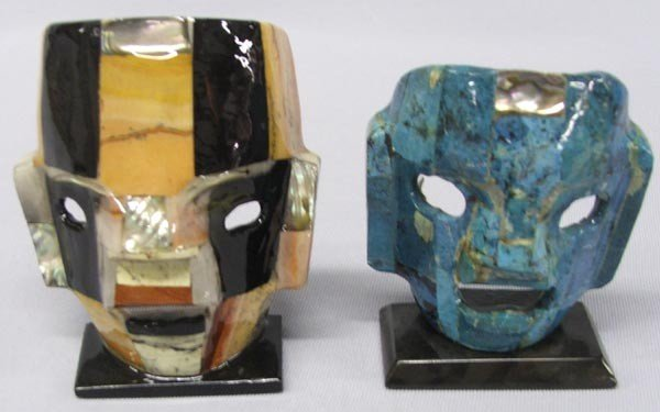 Pair Mexican Stone Abalone Masks