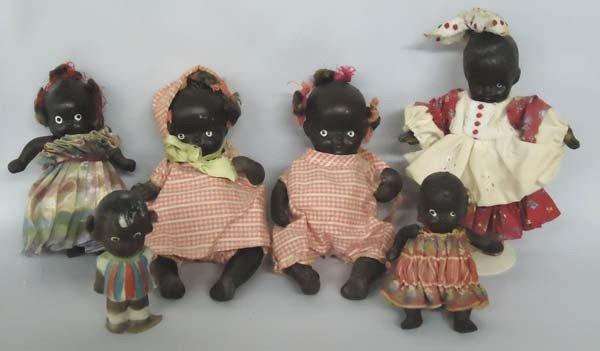 6 Vintage Japanese Black Composition Dolls