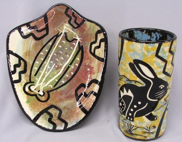 Pair Southwestern Ceramics Signed