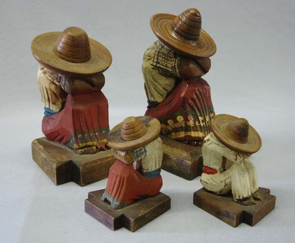 2 Pair Mexican Carved Wood Bookends