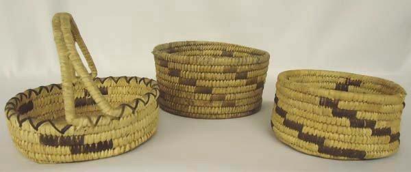 3 Vintage Papago Baskets