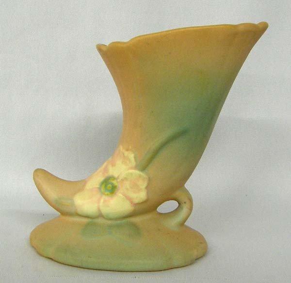 1930's Weller Cornucopia Wild Rose Vase