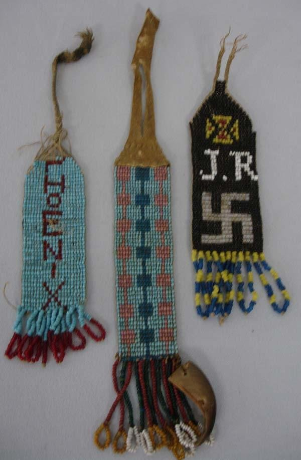 3 Vintage Apache Beaded Watch Fobs