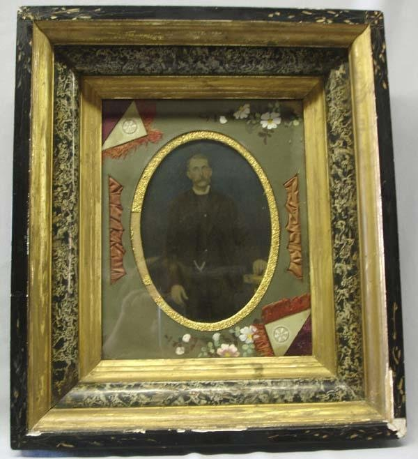 Antique Hand Painted Photograph in Gold Gilt Frame