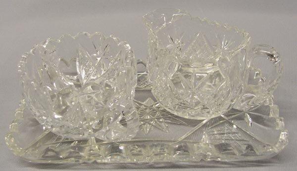 3 Pcs Brilliant Cut Crystal Glass Cream Sugar Tray