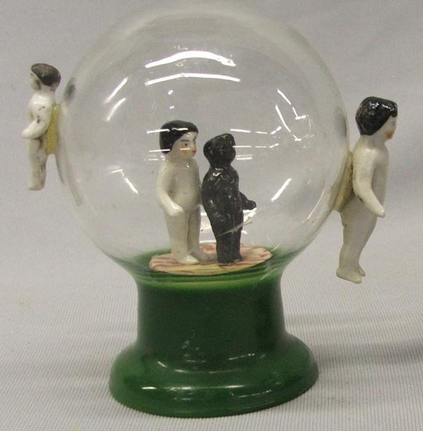 Antique Glass Pottery Snow Globe