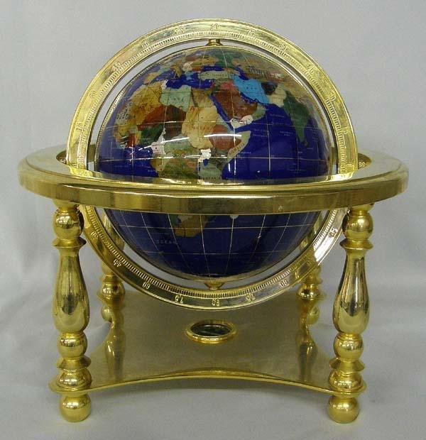 World Globe Inlaid with Semiprecious Stones